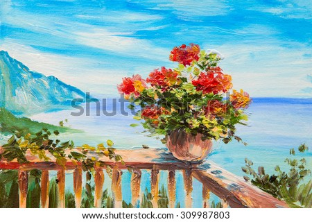 Oil painting landscape bouquet flowers background stock for Paesaggi marini dipinti