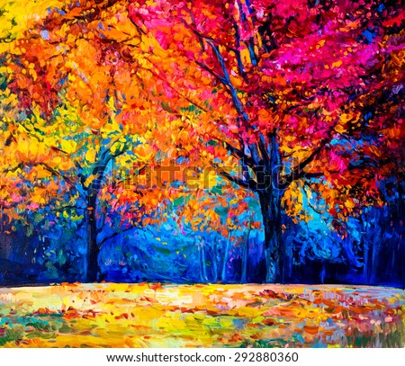 Oil painting landscape - colorful autumn trees -Modern impressionism by Nikolov - stock photo