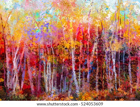 Oil Painting Landscape Colorful Autumn Trees Stock Illustration
