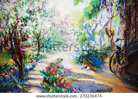 Oil painting landscape -  forest, summer afternoon - stock photo