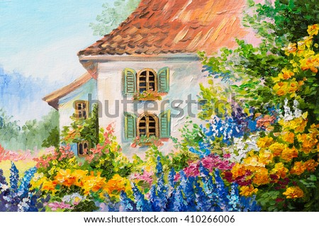 oil painting landscape house in the flower garden abstract impressionism - Simple Flower Garden Paintings