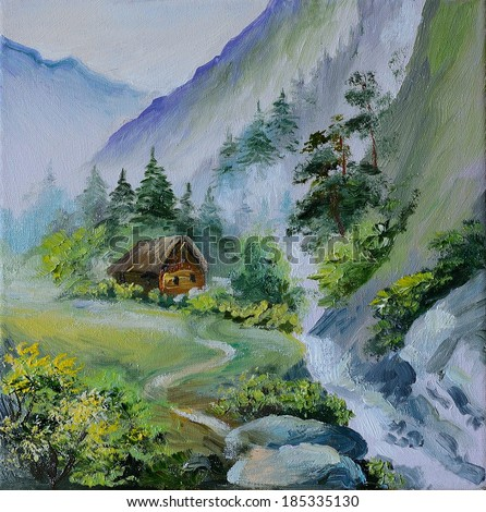 oil painting - landscape in mountains, house in the mountains and forests near the bridge, abstract drawing - stock photo