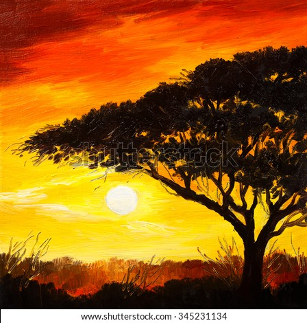 oil painting landscape - sunset in the forest, wallpaper, bright sun - stock photo