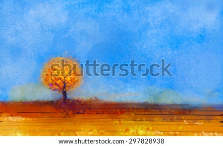 Oil painting landscape, tree and yellow field and blue sky. Colorful autumn tree in meadow at fall season. Fall Season Nature Background - stock photo