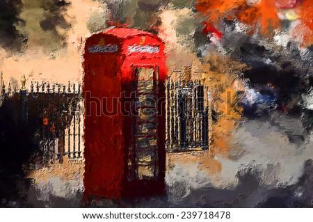 oil painting london phone box - stock photo