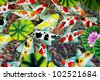 Oil painting modern batik background - stock photo