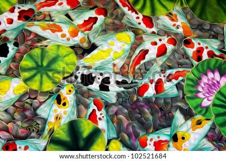Oil painting modern batik background - stock photo