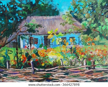 oil painting, nature, landscape, sketch, garden, trees ,Ukrainian village