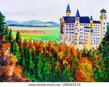 Oil Painting - Neuschwanstein, Germany