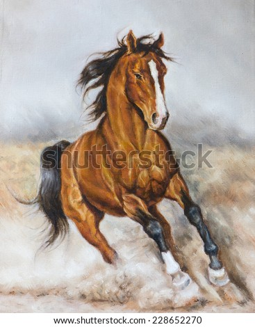oil painting of a horse on the prairie - stock photo