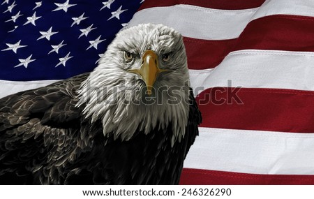 Oil painting of a majestic Bald Eagle against a photo of an American Flag. - stock photo