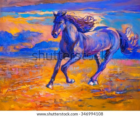 Oil painting of a running horse. Modern art - stock photo