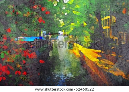 oil painting of amsterdam canal early morning light - stock photo