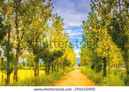 Oil painting of autumn trees along a country road