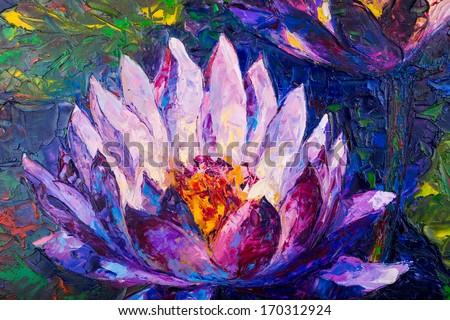 Oil painting of beautiful lotus flower - stock photo
