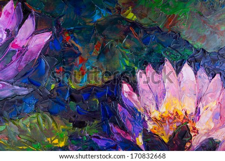 Oil painting of beautiful lotus flower - stock photo