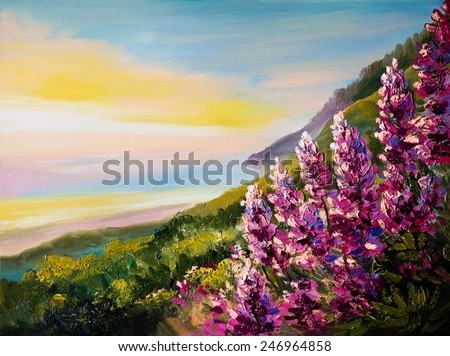 Oil painting of colorful sunset at Black Sea Coast - stock photo