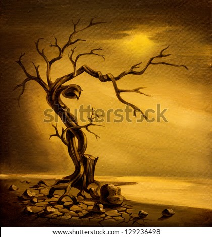 Oil painting of dead tree on cracked ground on canvas - stock photo