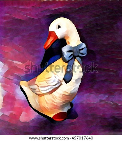 Oil painting of duck,For decorate home - stock photo