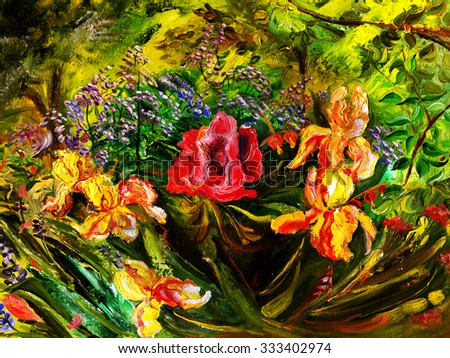 Oil painting of flowers, expressive style. Poppy flower and irises around. - stock photo