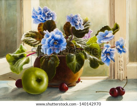 oil painting of flowers violet, still life beautiful  - stock photo