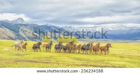 Oil painting of horse stampede - stock photo