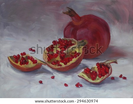 Oil painting of pomegranate. Classical still life illustration