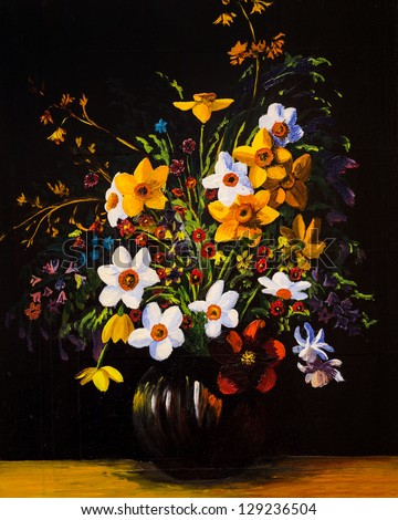 Oil painting of spring flowers in a vase on canvas