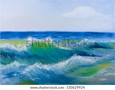 Oil painting of the Beautiful sea waves and sky - stock photo