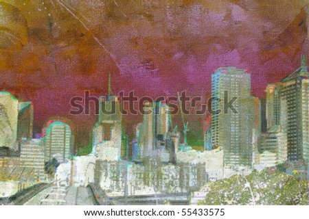 Oil painting of unrecognizable city buildings and landscape - stock photo