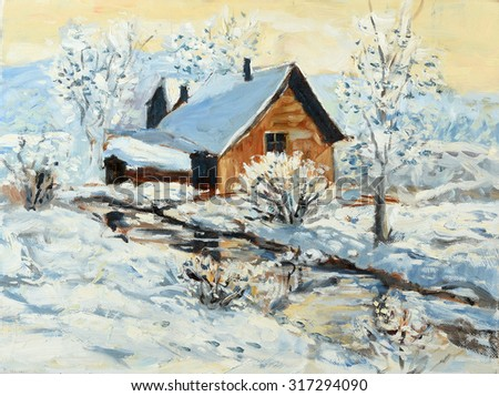 Oil painting of winter landscape with little house by the stream - stock photo