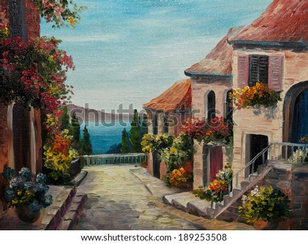 oil painting on canvas - house near the sea - stock photo