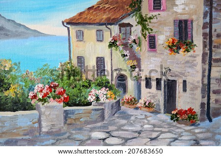 Oil painting on canvas of a beautiful houses near the sea - stock photo