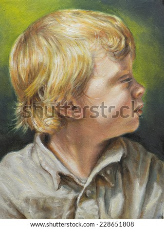 oil painting on canvas of a blond child - stock photo