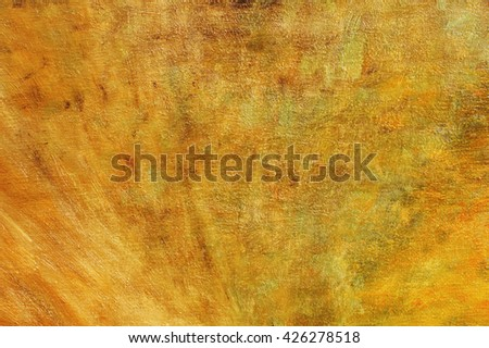 Oil painting on canvas orange brown abstract background with brush stroke texture . Art concept. - stock photo