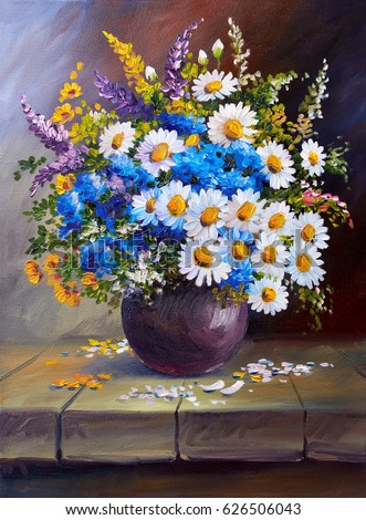 Oil Painting On Canvas Still Life Stock Illustration 626506043