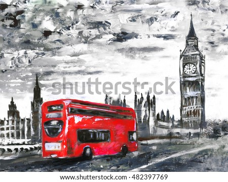 Oil painting on canvas street view of london bus on road artwork