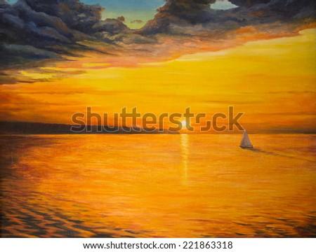 Oil painting on canvas.  Sunset - stock photo