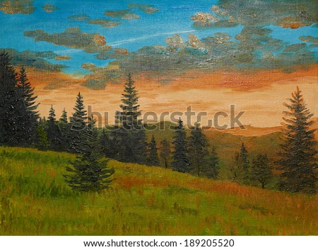 oil painting on canvas - sunset in the mountains - stock photo