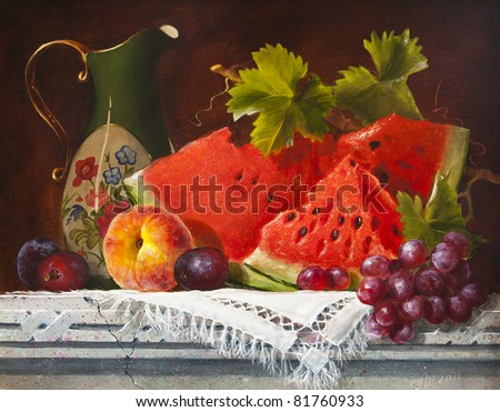 Oil painting on canvas, watermelon