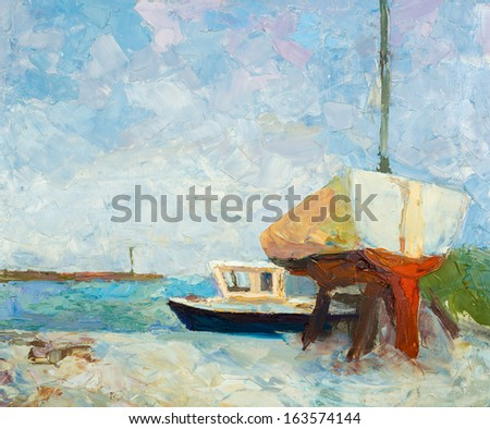 Oil painting on canvas. Yacht and ship