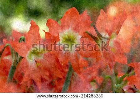 Oil Painting - Orange Flower - stock photo