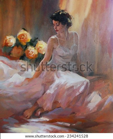oil Painting, painted a beautiful sitting girl dressed in white on the bed with flowers