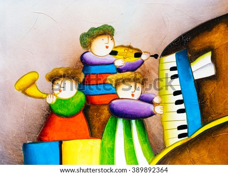 Oil Painting - Playing Piano