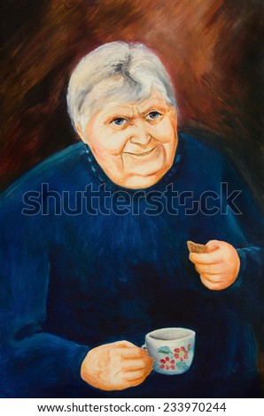 Oil painting. Portrait of an old woman with a cup and biscuits - stock photo