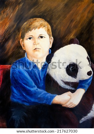 Oil painting. Portrait of boy with toy panda  - stock photo