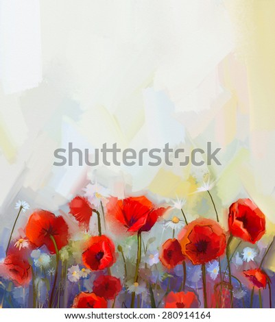 Oil  painting red poppy  flowers.  Spring  floral nature background - stock photo