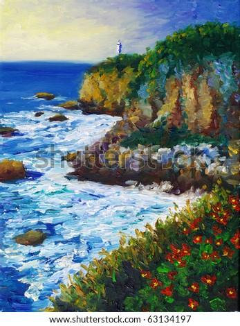 Oil Painting - Seacoast - stock photo