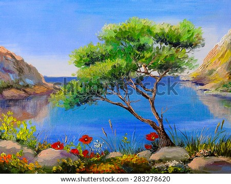 Oil painting - seashore, trees, mountains at sunset, sea landscape - stock photo