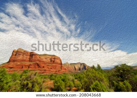 oil painting showing a beautiful scenic red sandstone rock landscape - stock photo